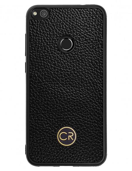 Etui premium skórzane, case na smartfon APPLE iPhone 11. Skóra iguana czarna ze srebrną blaszką.
