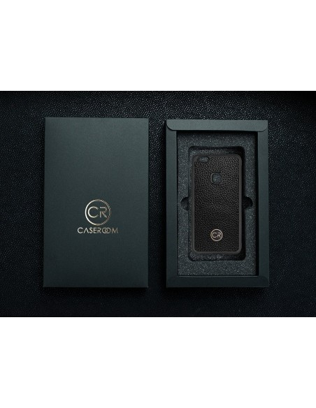 Etui premium skórzane, case na smartfon APPLE iPhone 11 PRO MAX. Skóra iguana czarna ze srebrną blaszką.