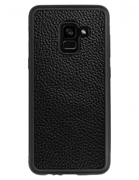 Etui premium skórzane, case na smartfon HUAWEI P20. Skóra iguana czarna ze srebrną blaszką.