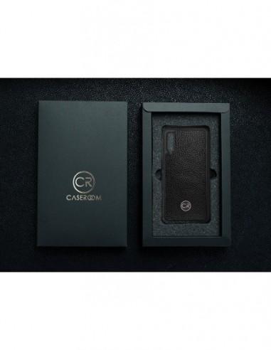 Etui premium skórzane, case na smartfon MOTOROLA G5S. Skóra iguana czarna ze srebrną blaszką.