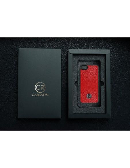 Etui premium skórzane, case na smartfon APPLE iPhone 7. Skóra floater ruda ze srebrną blaszką.
