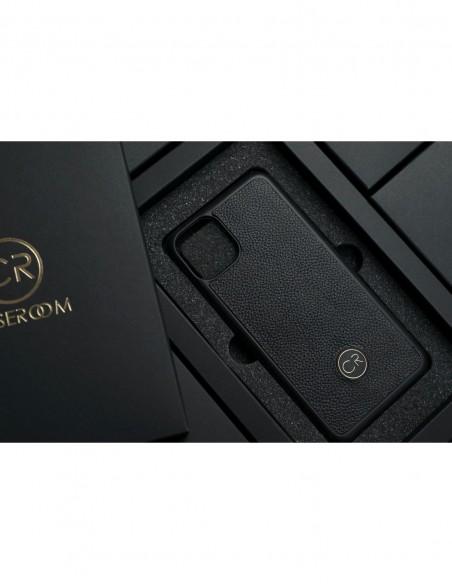 Etui premium skórzane, case na smartfon APPLE iPhone X. Skóra floater ruda ze srebrną blaszką.