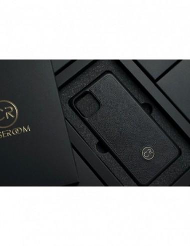 Etui premium skórzane, case na smartfon HUAWEI P20. Skóra floater ruda ze srebrną blaszką.