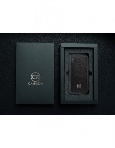 Etui premium skórzane, case na smartfon HUAWEI P SMART Z. Skóra floater ruda ze srebrną blaszką.