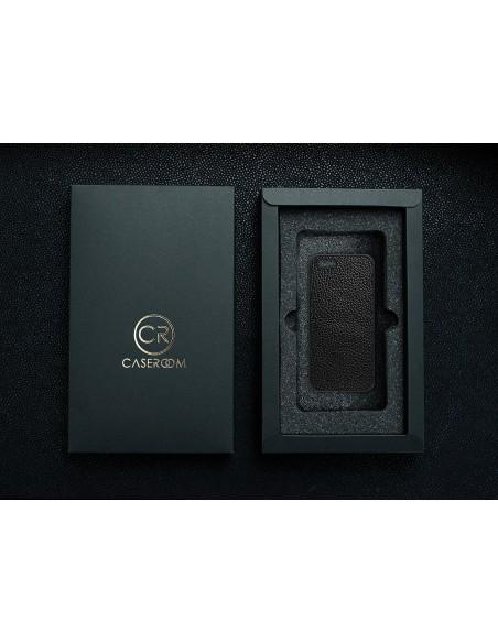 Etui premium skórzane, case na smartfon MOTOROLA G5S. Skóra floater ruda ze srebrną blaszką.