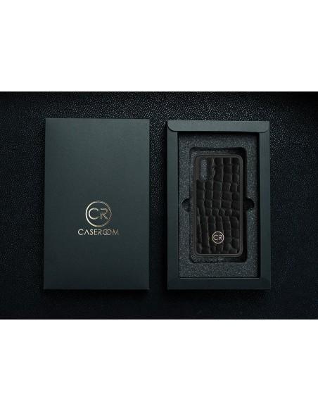 Etui premium fornir, case na smartfon APPLE iPhone 11. Fornir heban szary ze srebrną blaszką.