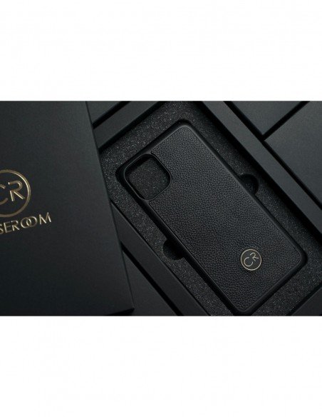 Etui premium fornir, case na smartfon APPLE iPhone 11 Pro. Fornir heban szary ze srebrną blaszką.