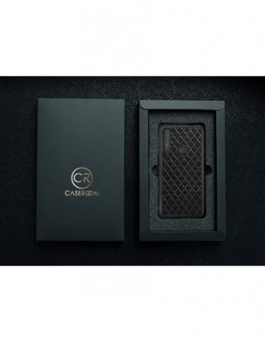 Etui premium fornir, case na smartfon HUAWEI P20. Fornir heban brązowy ze srebrną blaszką.