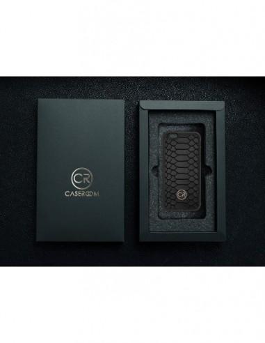 Etui premium fornir, case na smartfon APPLE iPhone 8. Fornir klon pawie oko ze srebrną blaszką.