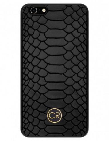 Etui premium fornir, case na smartfon APPLE iPhone 11 Pro. Fornir klon pawie oko ze srebrną blaszką.