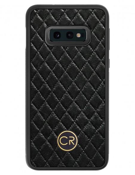 Etui premium fornir, case na smartfon APPLE iPhone XS. Fornir klon pawie oko ze srebrną blaszką.