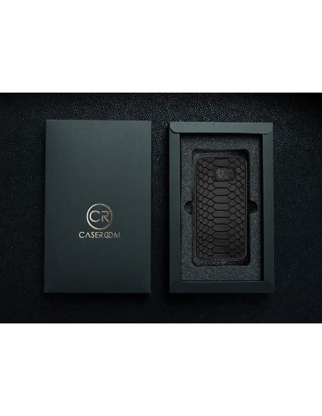 Etui premium fornir, case na smartfon APPLE iPhone X. Fornir oliwka argentina ze srebrną blaszką.